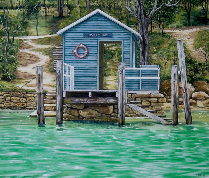 Lovett Bay Wharf  One of my favourite places on the Pittwater, Sydney. Painting on Canvas. Available as placemats (Hale imports) & prints etc.