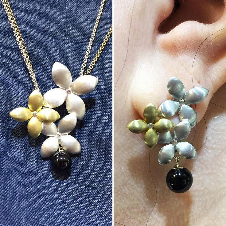 Beautifully redesigned #Breuning silver/gold plated flower necklace and earring set! Our customer added her #onyx beads to make it her own! Some flowers just bloom earlier than others  #customedesign #centretown #ottawajewelry #ottcity #613 #platedgold #silver #necklace #earrings