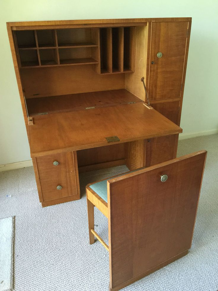 Retro writing bureau silky oak · antique