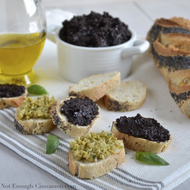 Easy Black Olive Tapenade (with a Green Olive version too!) www.notenoughcinnamon.com