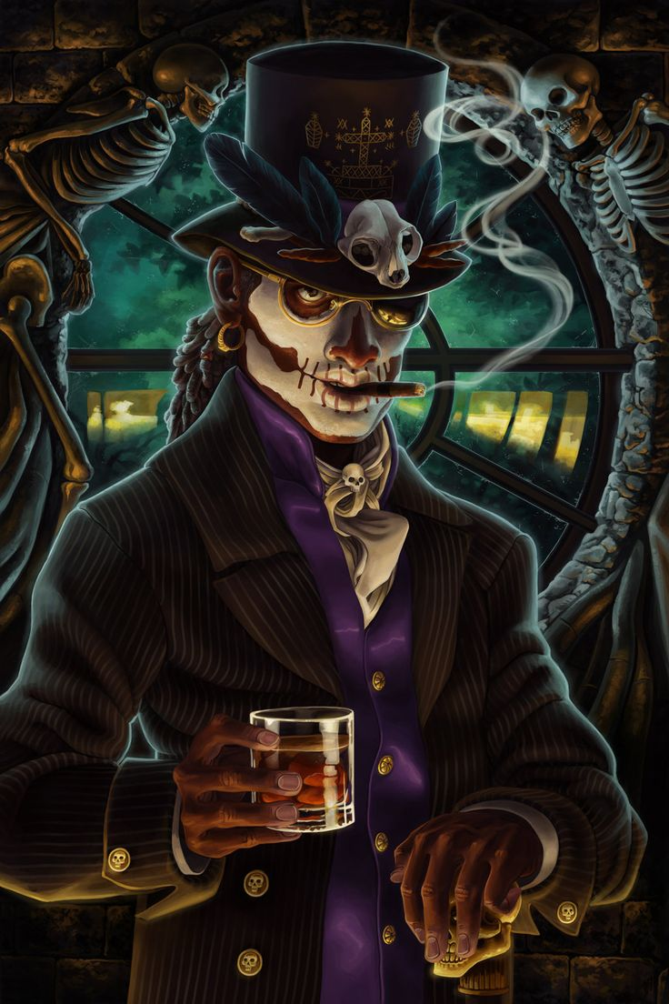 http://fc02.deviantart.net/fs71/i/2013/031/3/b/baron_samedi_by_chronoperates-d5tdnpu.jpg This person did an amazing job. I love this Baron Samedi