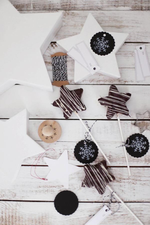baked cake pops & stars with dark chocOlate & crumbled candy cane