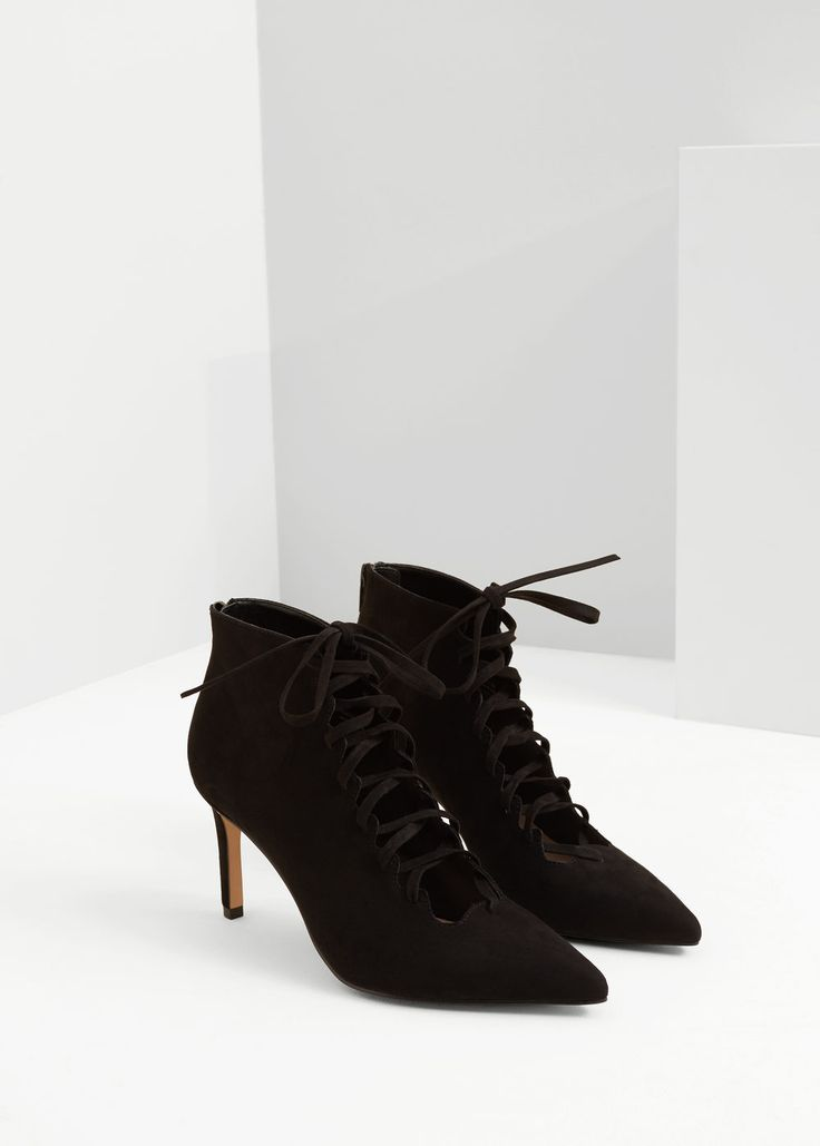 Heel lace-up ankle boots | MANGO