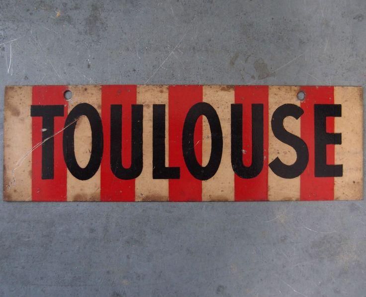 RARE ANCIEN PLAQUE PANNEAU RESULTAT SPORTIF TOLE PEINT CLUB FOOTBALL FC Toulouse