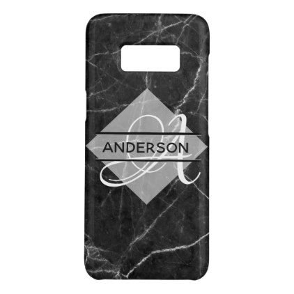 MonogramMarble Phone Case Grey White Custom - teenager birthday gift idea present teens party