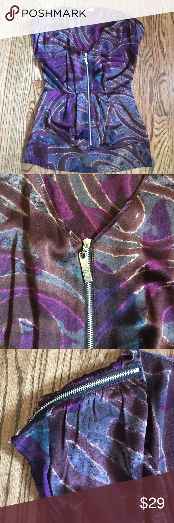 Walter Baker Purple Silk Top Walter Baker.  Used but great condition. Dry clean only.  100% silk.  Beautiful fit & pattern!! Cool zippered detail on sleeves and down front. Walter Baker Tops Blouses