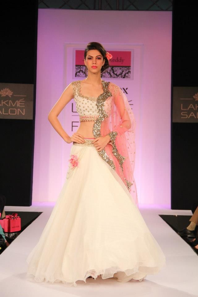 White lehenga Anushree Reddy 2013