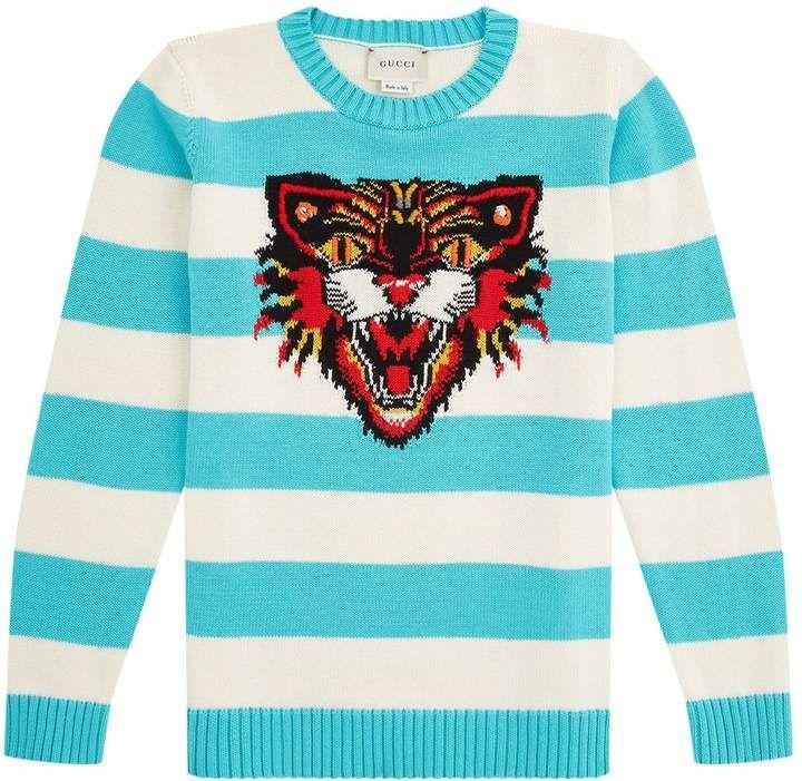 4c5edcf84ce Gucci Striped Tiger Sweater