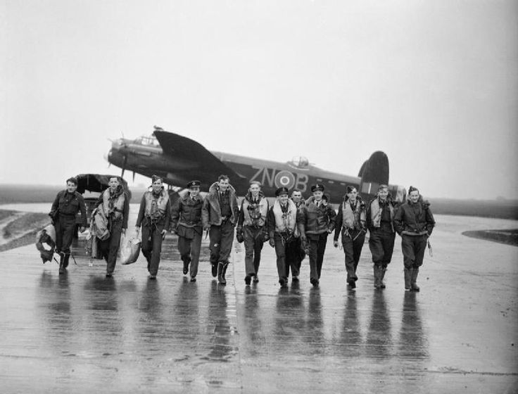 106 squadron Lancaster aircrew at RAF Syerston after raiding Genoa, October 1942.