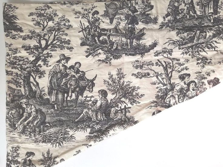 Waverly Valance Country Toile Cream and Black Ascot No Tassel Lined #Waverly #FrenchCountry
