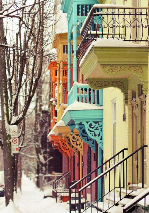Love the colors: Colour, Building, Balconies, Snow, Winter Wonderland, Colors Houses, Places, Montreal Canada, Bright Colors