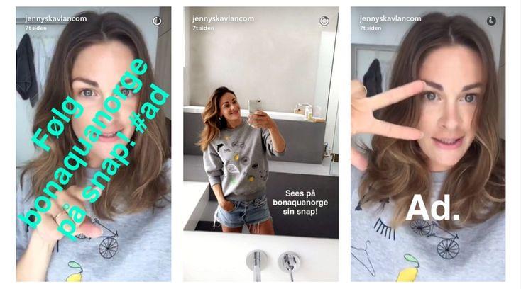 Jenny Skavlan inviterer sine følgere på Snapchat til å følge Bonaquanorge sin konto. #snapchat #bonaqua #blogger #markedsføring #produktplassering