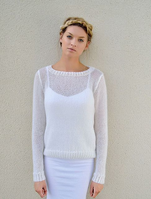 Classic sweater worked in a soft open fabric