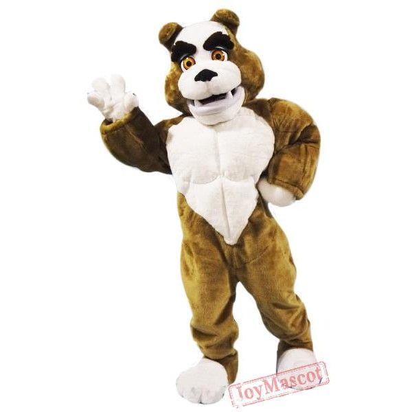 Power Muscular Bulldog Mascot Costume Bulldog Mascot Mascot