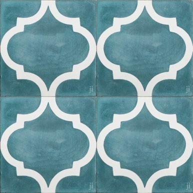 Teal Arabesque Reproduction Tile