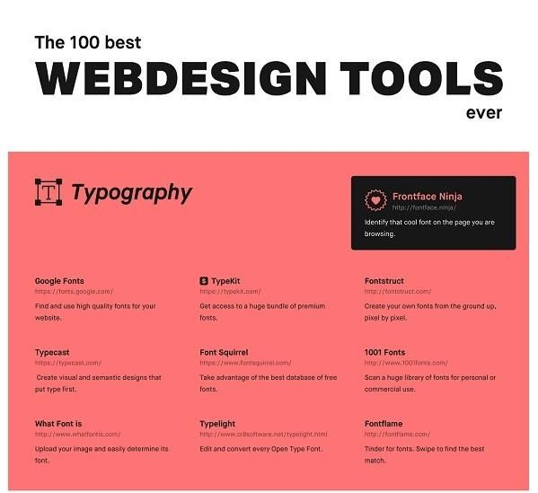 Designed by Illustrio, the following infographic features 100 of the best web design tools ever. From stock photosand typography, toprototyping and colours, t