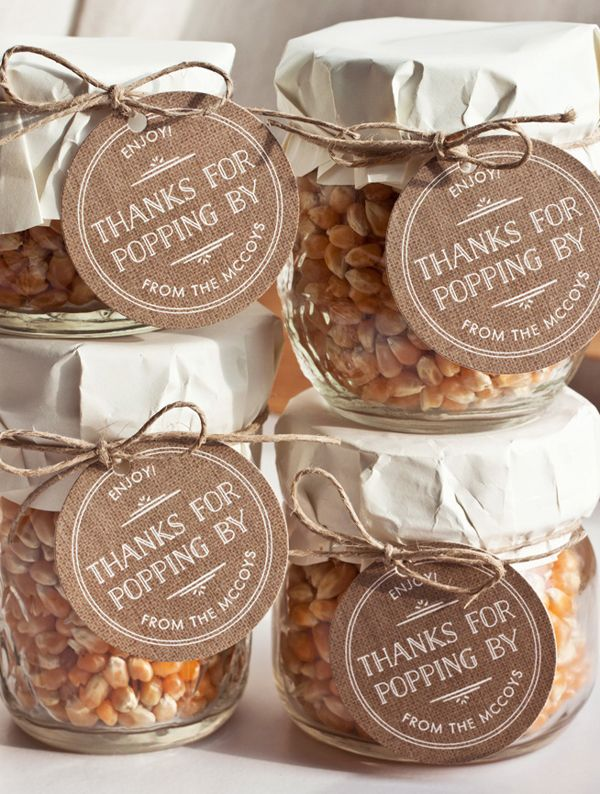 20 Edible Wedding Favors: popcorn kernel jars