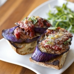 Eggplant Parmesan with Fiery, Red Wine Marinara on Crusty Garlic Toast ...