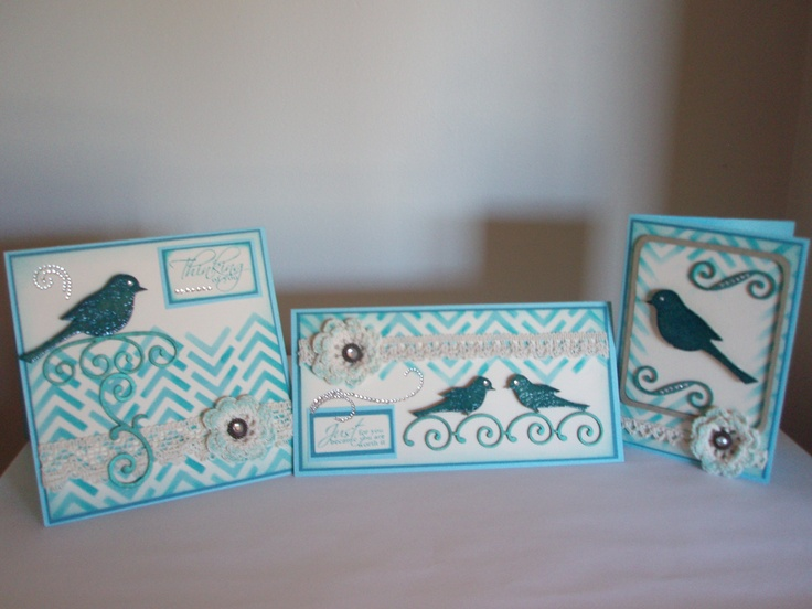 3 cards created by Glenda Thane using the chevron arrows Stencil and some of the Kaszazz Chipboard shapes.