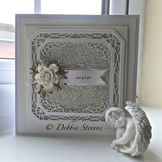 Good Morning everyone, Todays card is using the lovely Sue Wilson dies, I am loving the new collection, so here is what I have used... Noble dies-ornate pierced squares, Greek island collection cor...