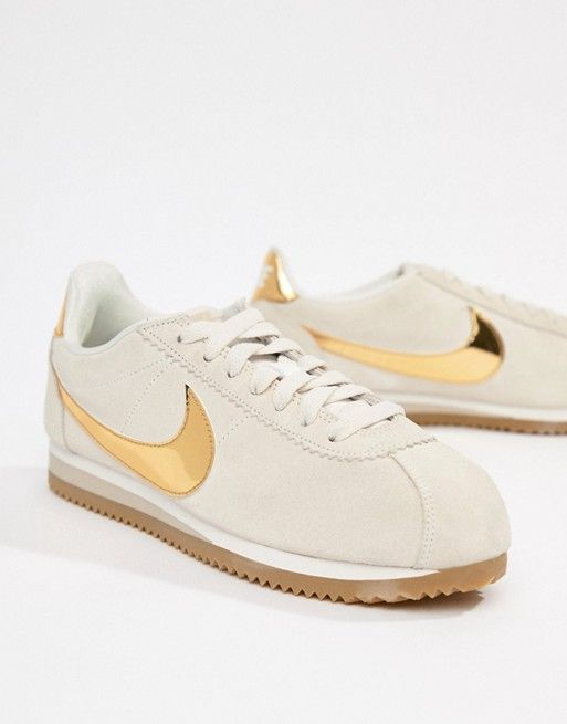cheap for discount b63a6 a5c0a Nike Beige With Gold Swoosh Suede Cortez Se Trainers in 2019   Women s  Fashion that I love   Sneakers, Nike, Beige trainers