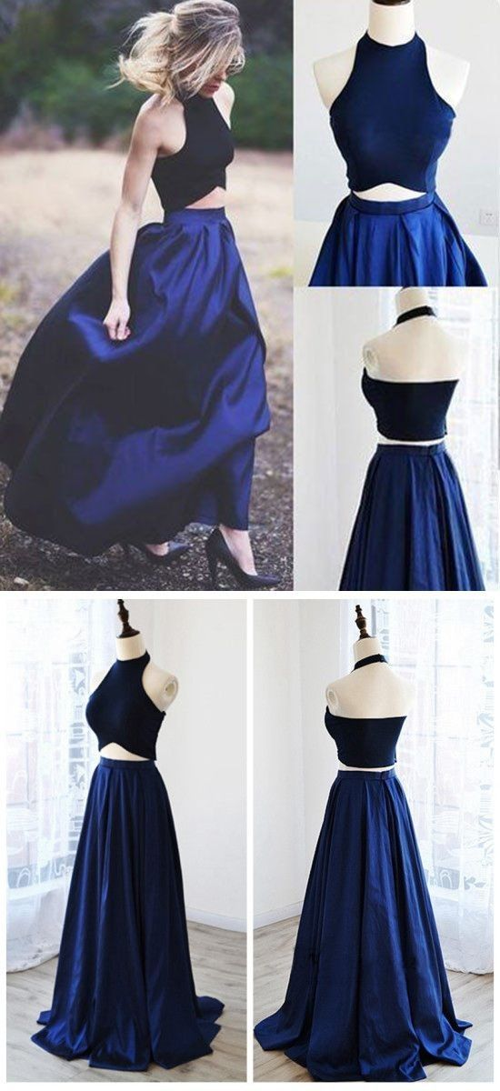 Dark Navy Prom Gowns, Halter Prom Dress, Long Satin Prom Dresses, Evening Formal Dress, Two Pieces Prom Dress, Cheap Backless Prom Gown, Girl's Party Dresses,Prom Dresses