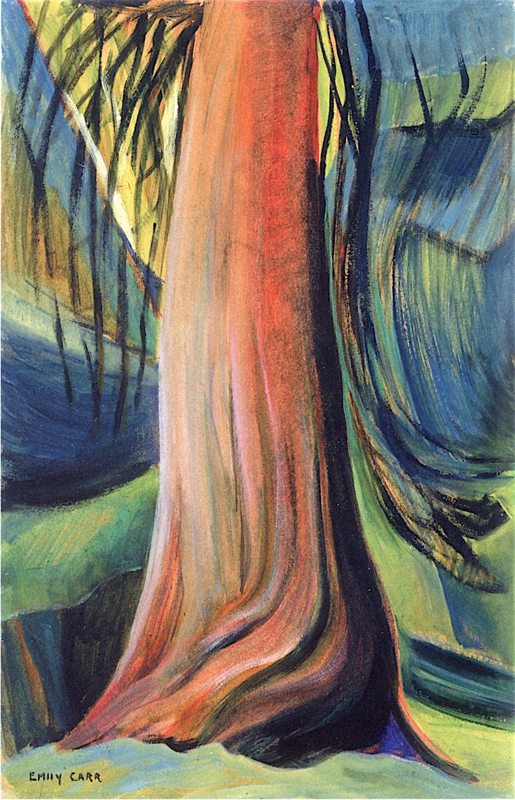 Watercolor artists directory wiki - Tree Study Oil On Paper 1930 Emily Carr