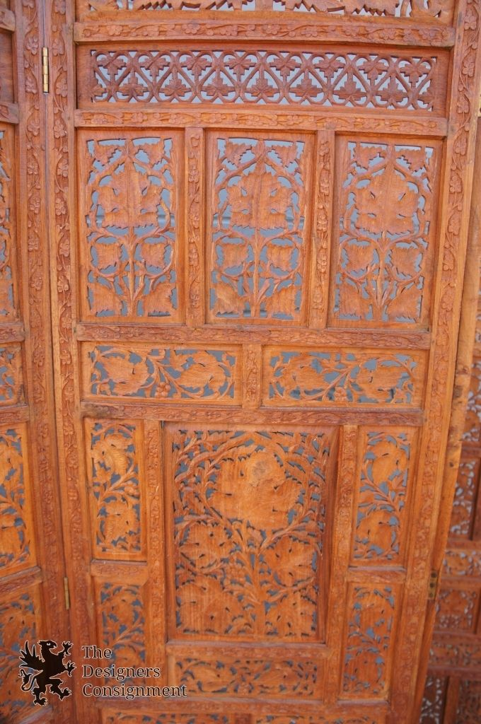 Teak Wood Carved Four Panel Room Divider Vintage Screen Indonesian Style Floral   The Designers Consignment