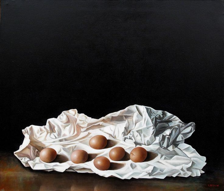 Autore : Luigi Beolchi  Titolo : Sei uova Tecnica : Olio su tela Misure : 60x70 cm