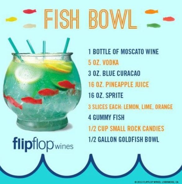 fish bowl mix drink drinks pinterest