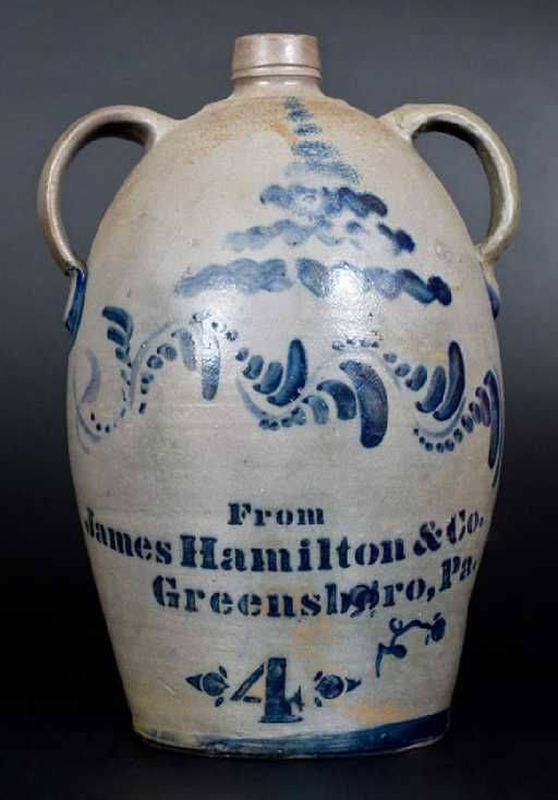 """Lot: 4 Gal. """"From James Hamilton & Co. / Greensboro, Pa."""", Lot Number: 0541, Starting Bid: $100, Auctioneer: Crocker Farm, Auction: July 22 American Stoneware & Redware Pottery, Date: July 22nd, 2017 CDT"""