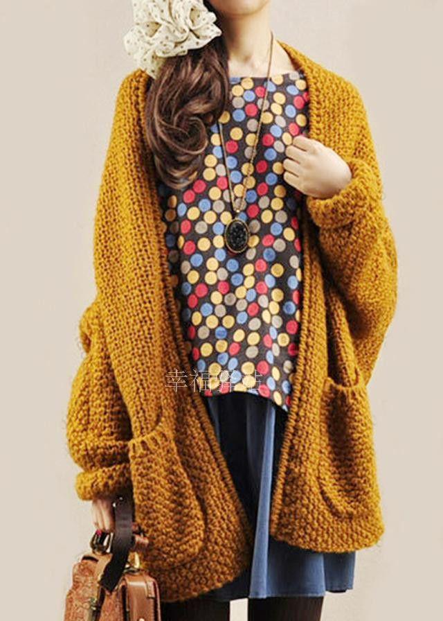 Cardigan Knit Coarse Yarn Batwing Loose Sweater
