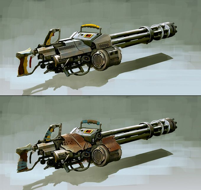 Weapon of the concept art. The gun looks like it created for wars or mission type of games. It is realistic and well designed.