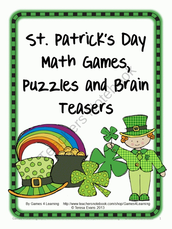 St Patricks Day Math Games Puzzles and Brain Teasers product from Games-4-Learning on TeachersNotebook.com