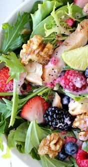 spring salad: Berries Salad, Fruit Salad, Chicken Salad, Parties Salad, Summer Written, Summer Salad, Gardens Parties, Spring Salad, Gardens Salad