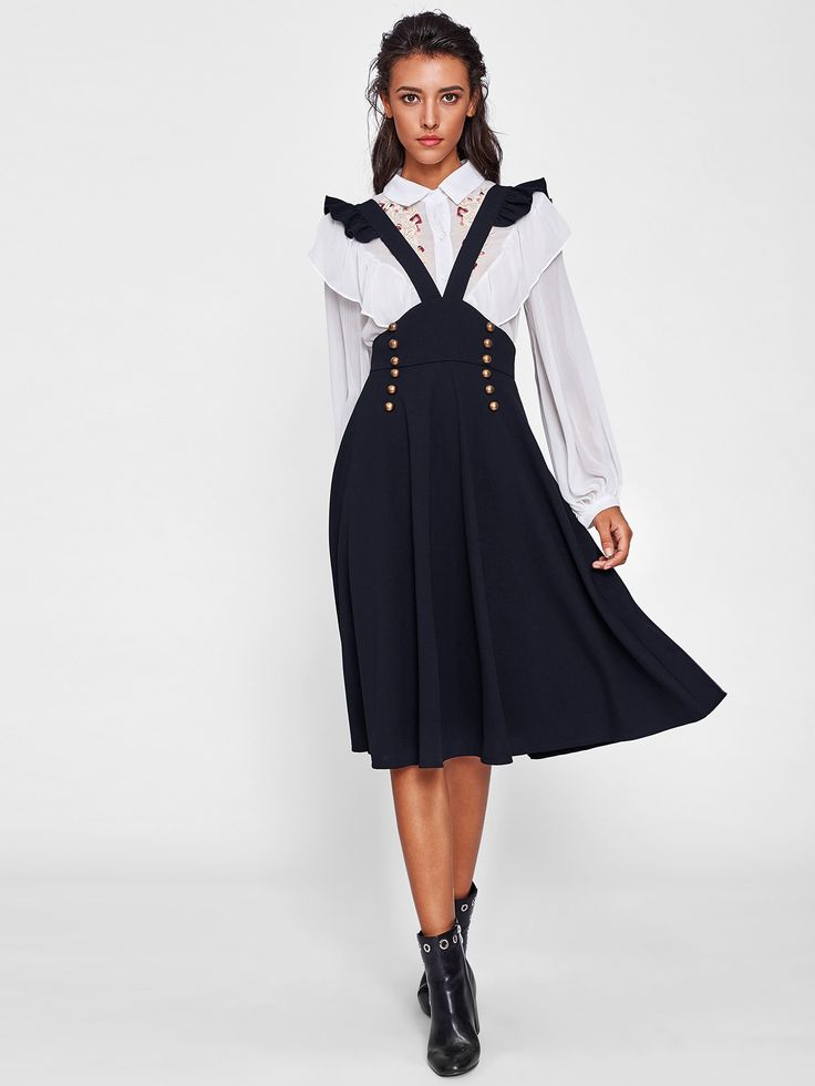 Shop Ruffle Strap Double Breasted Pinafore Skirt online. SheIn offers Ruffle Strap Double Breasted Pinafore Skirt & more to fit your fashionable needs.