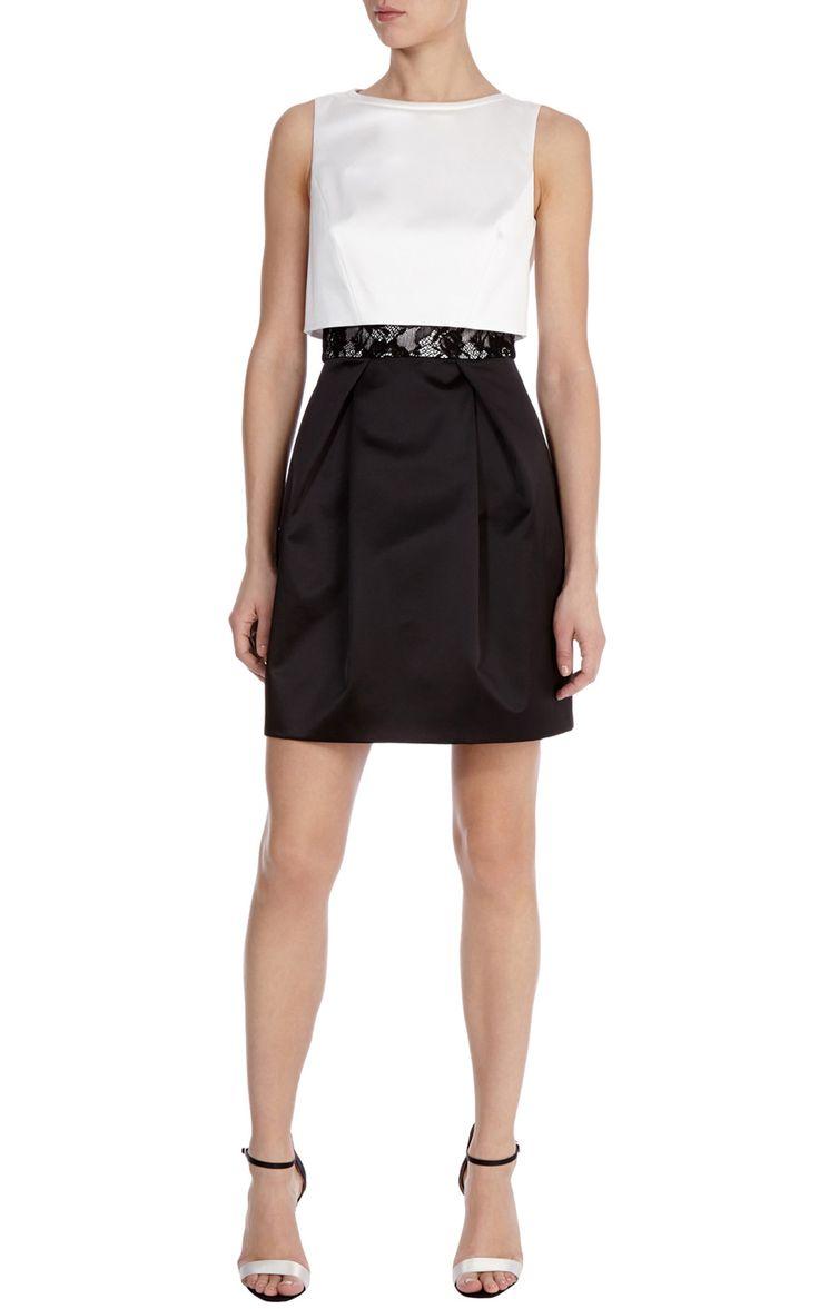 Karen millen black and cream dress