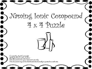 This 4 x 4 puzzle challenges students to match the names with the formulas of different IONIC compounds. Some of these ionic compound include common polyatomic ions.   Fun review activities for students that is takes very little prep. time.