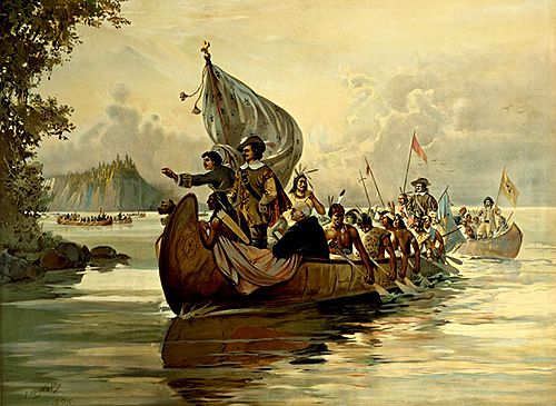 """Part II. Samuel de Champlain (c.1570-1635) He returned in 1608, founded Quebec, and established the first white settlement in New France. In 1609, he reached Lake Champlain in New York; later, mapped Lake Huron, and made this part of North America known to the world. He was governor of New France in 1626; his collected """"Works,"""" published in 1622-36, remain a great account of conquest and exploration."""