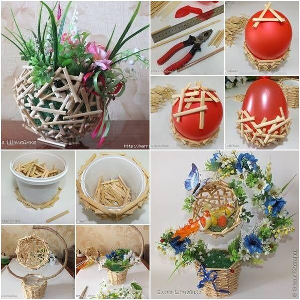 Flower Baskets Decoration : Palitos de picol? bexiga criatividade lindo arranjo