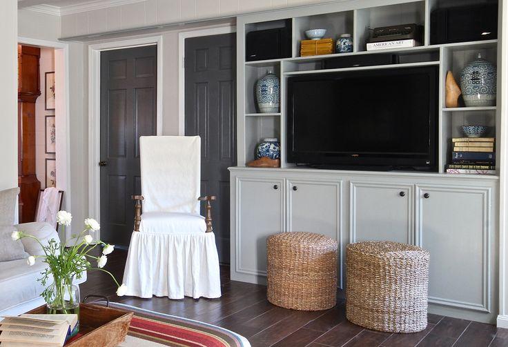 Holly Mathis Interiors: Young Houston family's home. Doors BM Chelsea Grey, walls Edgecomb Grey.