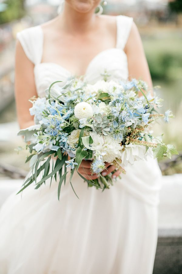 blue, green, and white bouquet, photo by Emily Wren http://ruffledblog.com/front-palmer-philadelphia-wedding #weddingbouquet #flowers