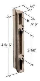 """Sliding Screen Door Outside Pull for Andersen Doors, 2-1/8"""" Screw Holes, Plastic, Stone by C.R. Laurence. $17.00. Fits Andersen Screen Doors. This Inside Plastic Pull is non-handed and surface mount. It is designed to fit Andersen two panel screen doors. Color: Stone. Minimum Order: 1 Package. Each package includes one plastic outside pull with installation screws."""