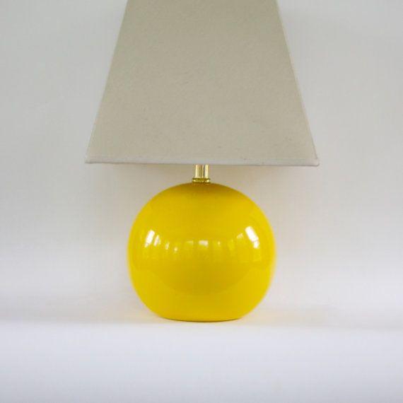 Yellow Vintage Lamp. Modern. Lemon Yellow. Ceramic. Round Lamp. Ball Lamp. Orb. Retro Modern Decor. on Etsy, $145.00