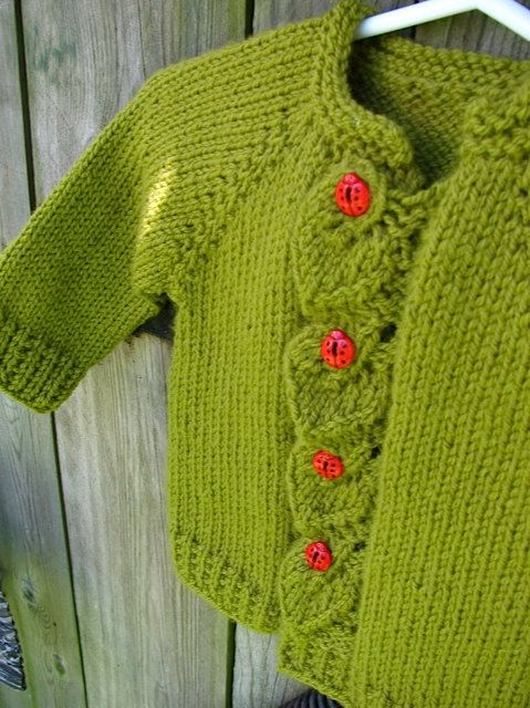 Hand Knit Baby Ladybug Cardigan by WarmWoolenWishes on Etsy