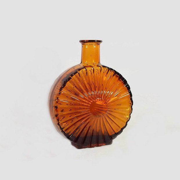 Vintage Amber Glass Sun Bottle in the Manner of Helena Tynell (Aurinkopullo) by NeedorWant on Etsy SOLD