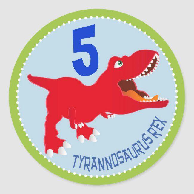 1.5 T-Rex Birthday Personalized Dinosaur Birthday Labels Boy Birthday Tyrannosaurus Birthday Choose Colors 2 or 2.5 round