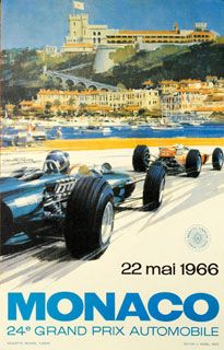 Vintage poster for Monaco Grand Prix 1966 by Michael Turner