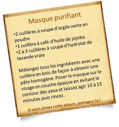 recette masque purifiant visage
