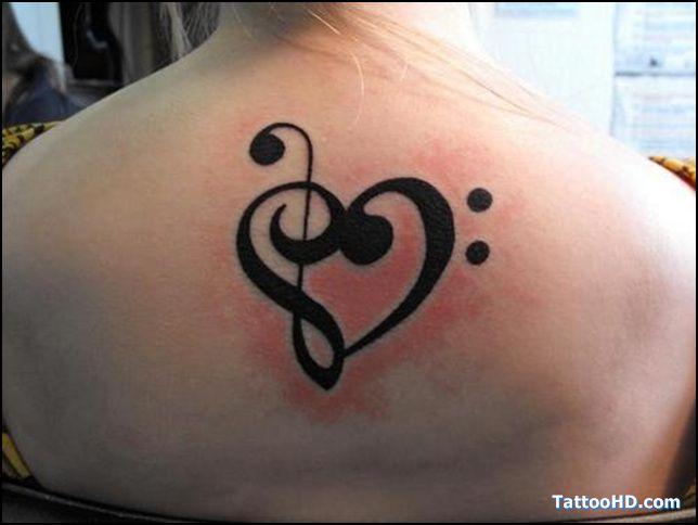 music clef heart tattoo